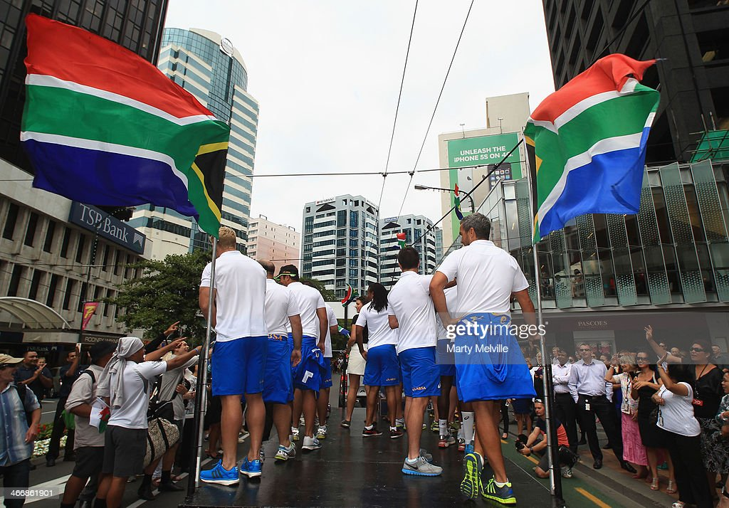South Africa players wave to fans during a South African street parade ahead of the 2014 Wellington Sevens on February 5, 2014 in Wellington, New Zealand.