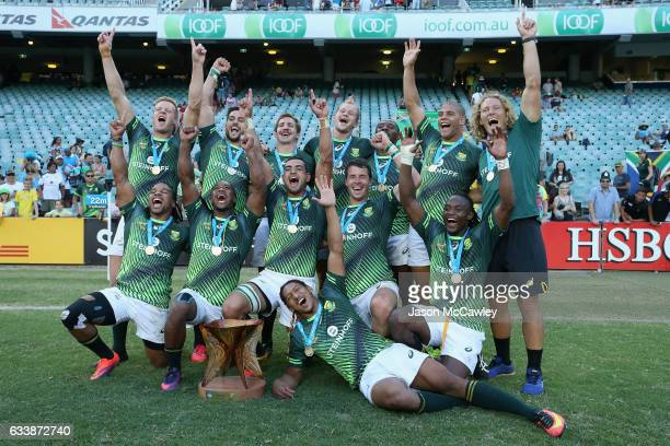 South Africa pose with medals at the conclusion of the Cup Final match between England and South Africa in the 2017 HSBC Sydney Sevens at Allianz...