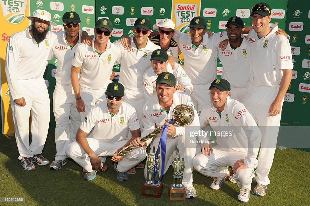 South Africa pose with their trophys after winning the series 3-0 on day 3 of the 3rd Test match between South Africa and Pakistan at SuperSport Park on February 24, 2013 in Pretoria, South Africa,