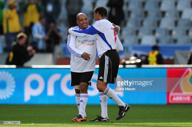 South Africa President Jacob Zuma and Sky Sports commentator Chris Kamara during a Charity Match ahead of the 2010 FIFA World Cup South Africa...