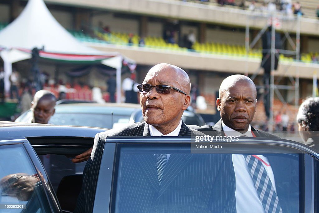 South Africa President Jacob Zuma at the Inauguration ceremony of President Uhuru Kenyatta on April 9, 2013 in Nairobi, Kenya. Kenyatta received masses of support from the citizens of Kenya despite being under investigation for crimes against humanity.