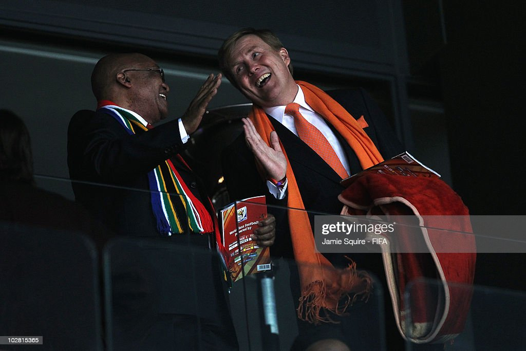 South Africa President Jacob Zuma (L) laughs with Prince Willem-Alexander of the Netherlands before the 2010 FIFA World Cup South Africa Final match between Netherlands and Spain at Soccer City Stadium on July 11, 2010 in Johannesburg, South Africa.