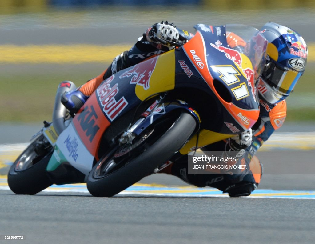 South Africa rider Brad Binder competes on his Red Bull KTM Ajo N��41 during a moto3 free practice session, ahead of the French motorcycling Grand Prix, on May 6, 2016 in Le Mans. / AFP / JEAN