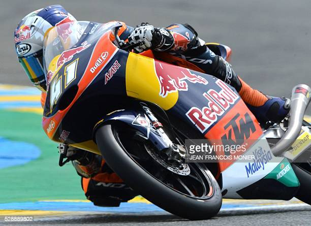 South Africa rider Brad Binder competes on his Red Bull KTM Ajo N��41 and clocked the second position during the Moto3 qualifying cession of the...