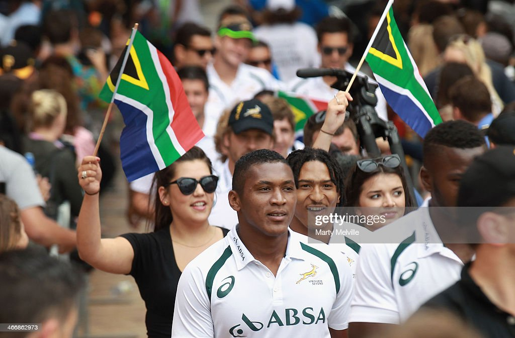 South Africa team members arrive at Civic Square during a South African street parade ahead of the 2014 Wellington Sevens on February 5, 2014 in Wellington, New Zealand.