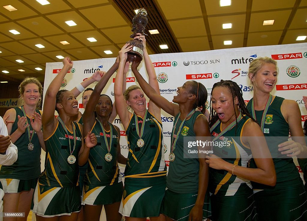 South Africa, Tri-Nations Champions during the International SPAR Tri Nations netball final match between South Africa and England at Vodacom NMMU Indoor Stadium on October 25, 2013 in Port Elizabeth, South Africa.