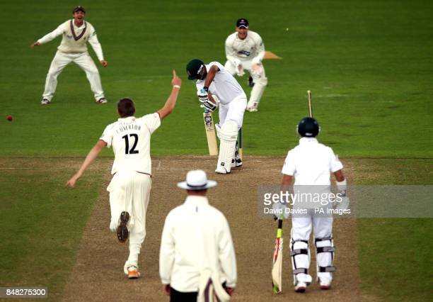 South Africa Vernon Philander is bowled by Somerset's Craig Overton for 6 during the tour match at The County Ground Taunton