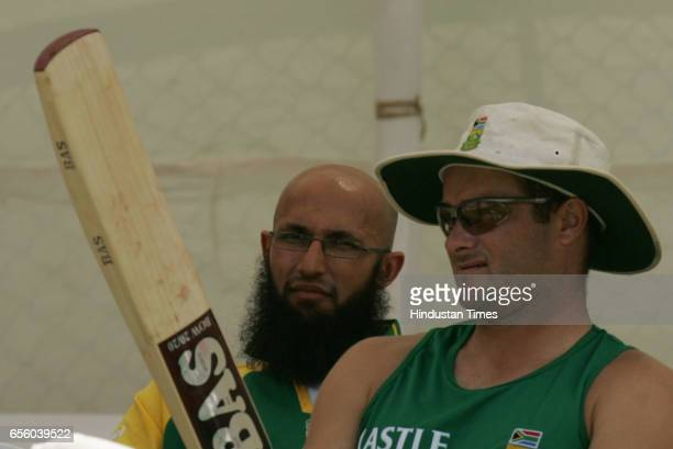 South Africa wicketkeeper Mark Boucher with Hashim Amla during SA net practice session prior to their second test match agains India at Sardar Patel...