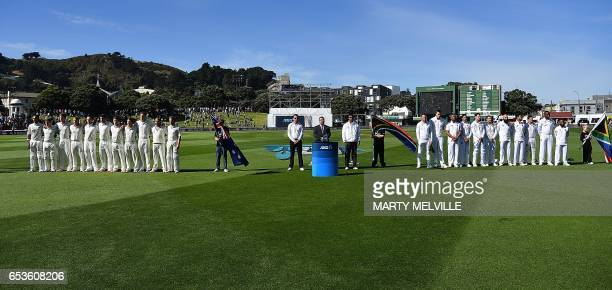 South Africa with New Zealand stand for the national anthems during the 2nd International cricket test match between New Zealand and South Africa at...