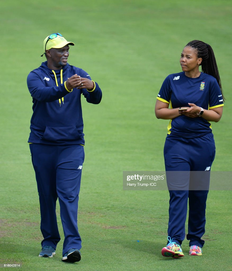 South Africa Women Head Coach Hilton Moreeng(L) reacts during the England v South Africa - ICC Women's World Cup: Previews at the Brightside Ground on July 17, 2017 in Bristol, England.