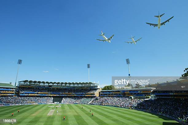 South African Airways has a fly past over the Wanderers during the ICC Cricket World Cup Final between India and Australia at the Wanderers in...