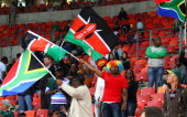 South African and Kenyan supporters during fixture 24 between South Africa and Kenya during day 1 of the Cell C Nelson Mandela Bay Sevens at Nelson...
