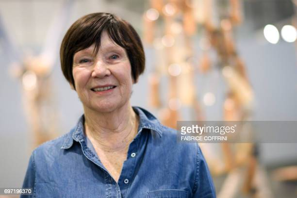 South African artist and writer Sue Williamson poses at the Unlimited show during the preview day of Art Basel the world's premier modern and...