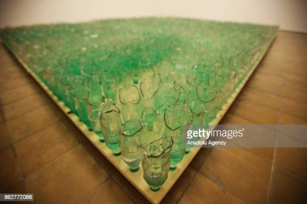 South African artist Lungiswa Gquanta's work 'Grass' is seen during the 15th Istanbul Biennial by the Istanbul Foundation for Culture and Arts and...