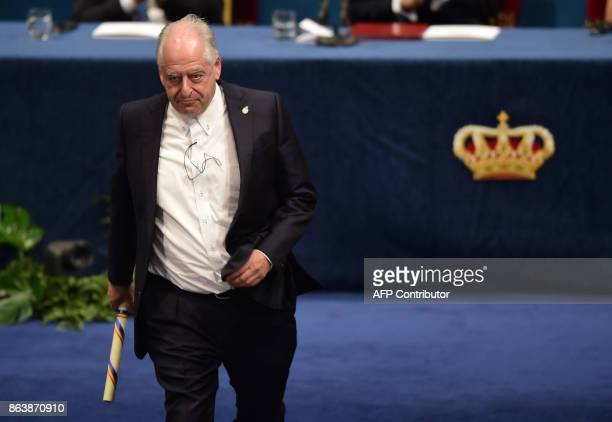 South African artist William Kentridge walks off the stage after receiving the 2017 Princess of Asturias Award for Arts during the Princess of...