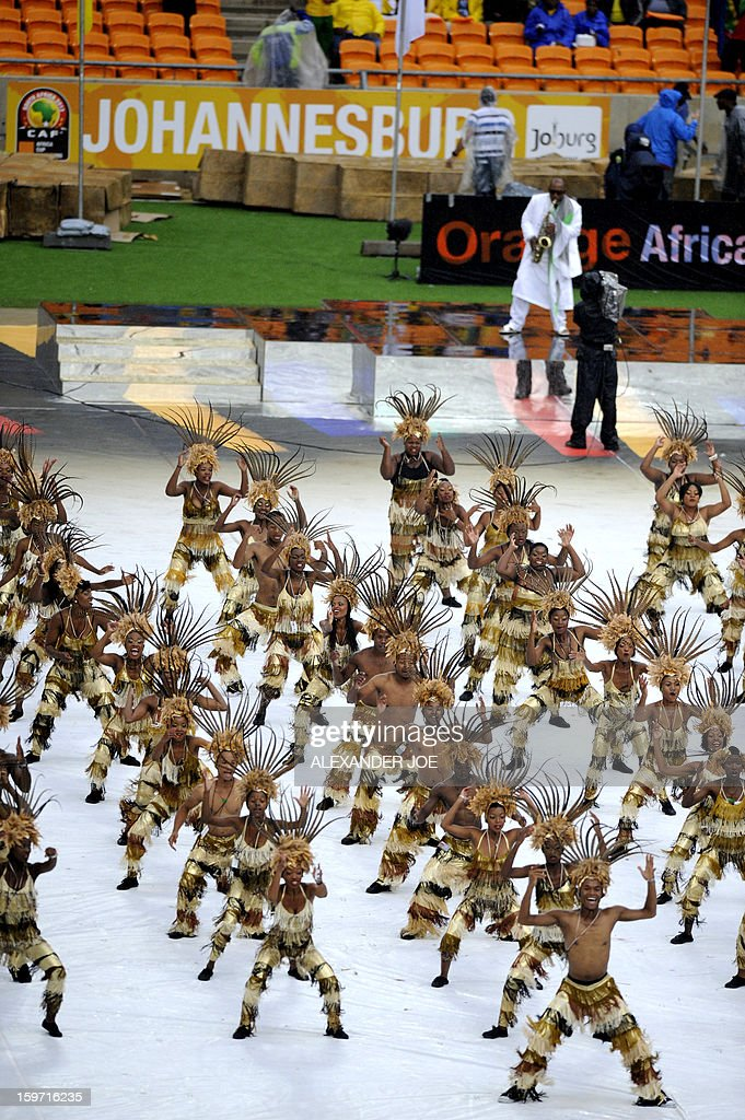 South African artists perform during the opening ceremony of 2013 Africa Cup of Nations at football competition at City stadium in Soweto on January 19, 2013 .