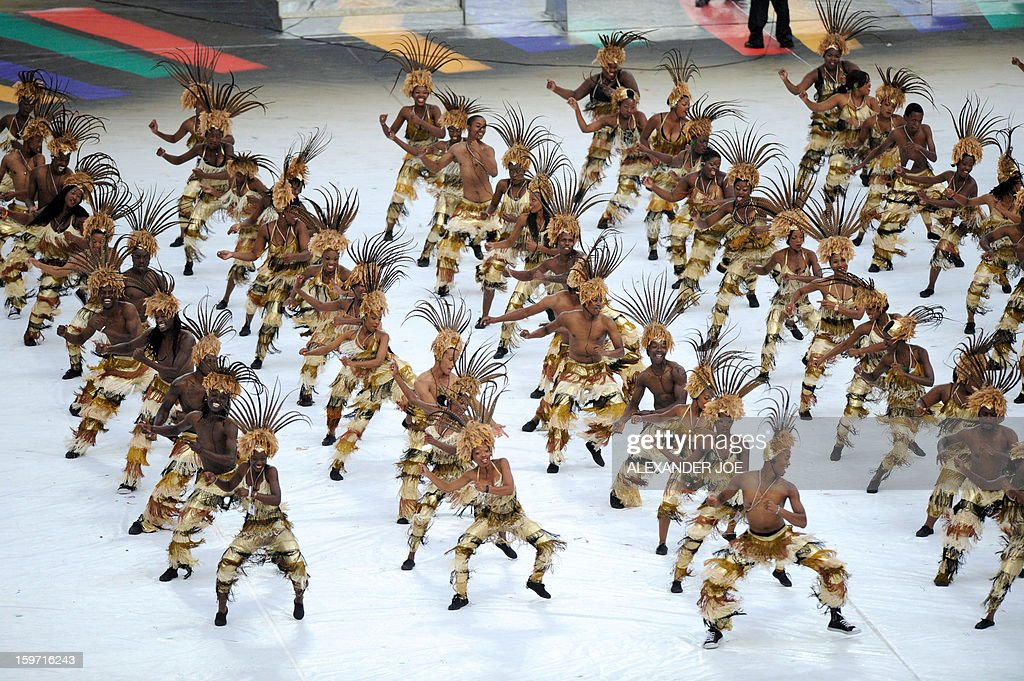 South African artists perform during the opening ceremony of 2013 Africa Cup of Nations at football competition at City stadium in Soweto on January 19, 2013 . AFP PHOTO / ALEXANDER JOE