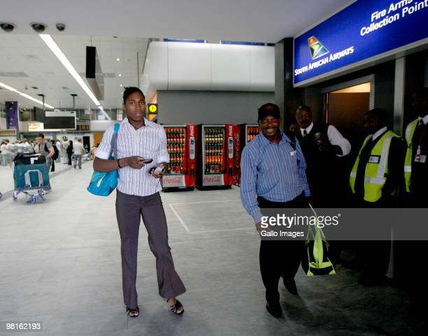 South African athlete Caster Semenya arrives at the Cape Town International airport on March 30 2010 in Cape Town South Africa The athlete has to...