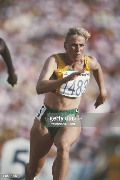 South African athlete Elinda Vorster competes for South Africa to reach the semi finals of the Women's 200 metres event at the 1992 Summer Olympics...