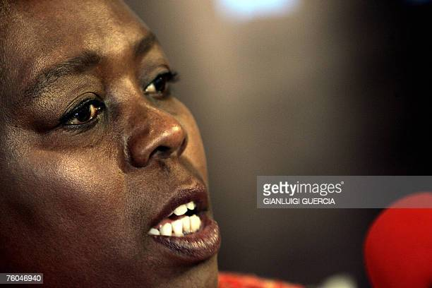 South African axed Health deputy minister Nozizwe MadlalaRoutledge speaks as she gives 10 August 2007 a press conference at Cape Talk radio studio in...