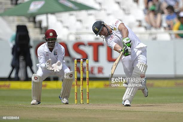 South African batsman AB de Villiers plays a shot during the 3rd day of the third test match between South Africa and the West Indies at Newlands...