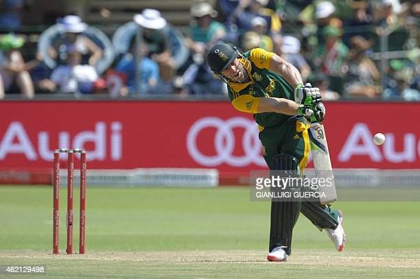 South African batsman AB de Villiers plays a shot during the 4th One Day International cricket match on January 25 2015 at St George cricket ground...