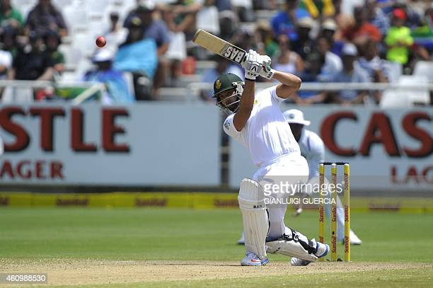 South African batsman Alviro Petersen plays a shot during the 2nd day of the thirs test match between South Africa and the West Indies at Newlands...