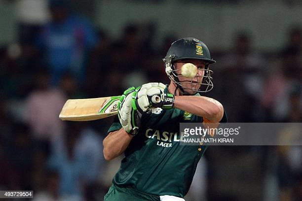 South African batsman Chris Morris watches the ball approaching him during the one day international cricket match between India and South Africa at...