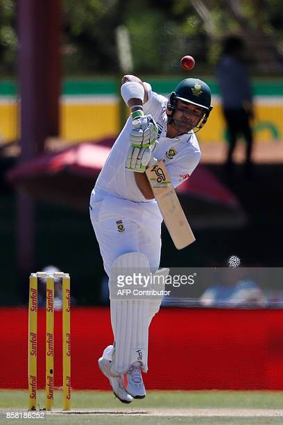South African batsman Dean Elgar hits the ball during the first day of the second Test Match between South Africa and Bangladesh in Bloemfontein...