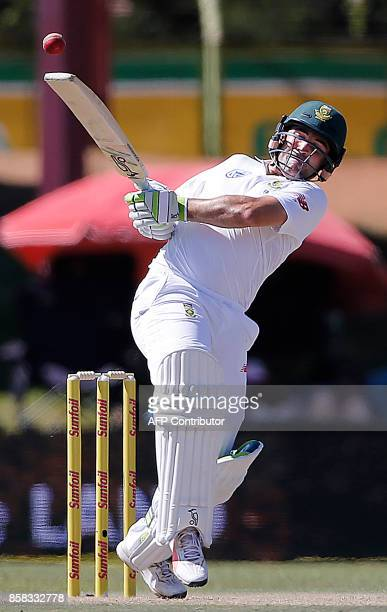 South African batsman Dean Elgar plays a shot during the first day of the second Test cricket match between South Africa and Bangladesh in...