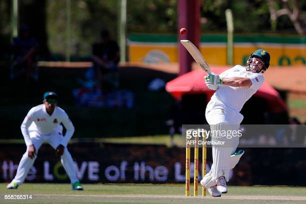 South African batsman Dean Elgar swings during the first day of the second cricket Test Match between South Africa and Bangladesh in Bloemfontein on...