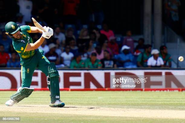 South African batsman Farhaan Behardien plays a shot during the 3rd ODI match at the Buffalo Park in East London on October 22 2017 / AFP PHOTO /...