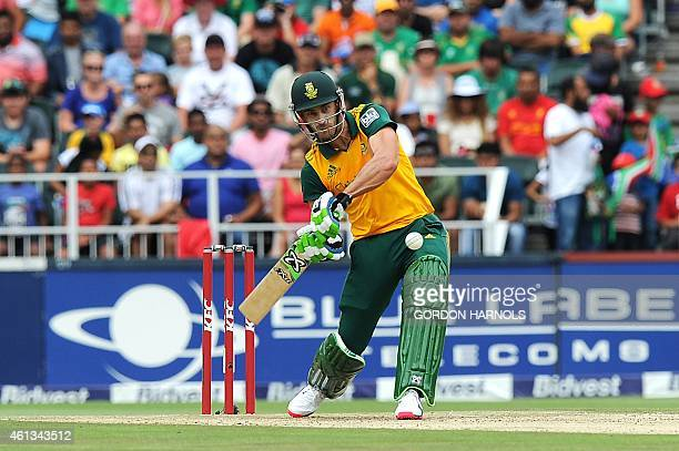 South African batsman Francois Du Plessis plays a shot during the second T20 cricket match between South Africa and the West Indies at Wanderers...
