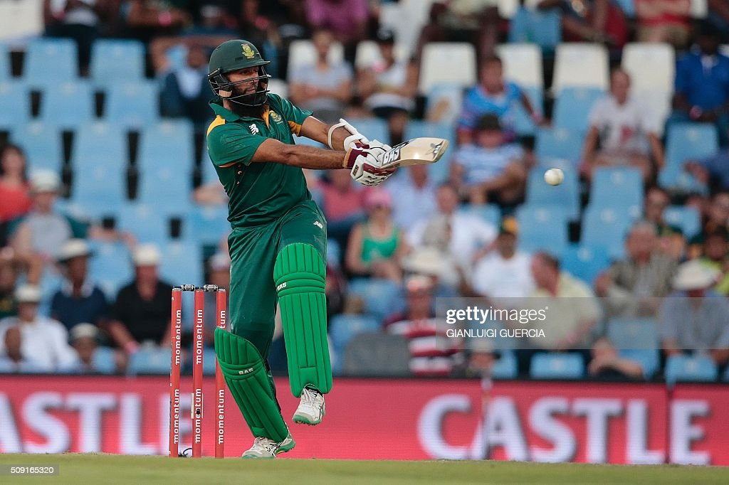 South African batsman Hashim Amla plays a shot during the third One Day International match between England and South Africa at Supersport park on February 9, 2016 in Centurion. GUERCIA