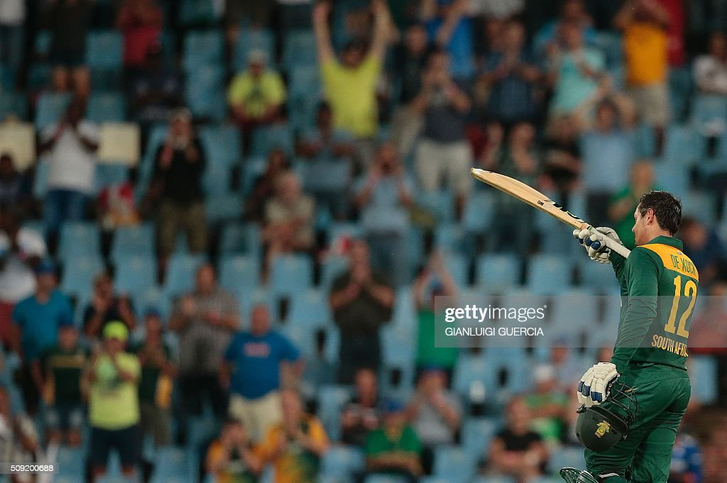 South African batsman Quinton De Kock celebrates after scoring a century (100 runs) during the third One Day International match between England and South Africa at Supersport park on February 9, 2016 in Centurion. GUERCIA