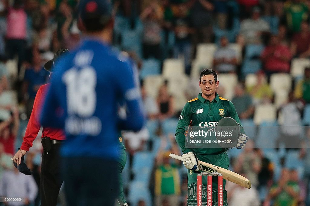 South African batsman Quinton De Kock is pictured after scoring a century (100 runs) during the third One Day International match between England and South Africa at Supersport park on February 9, 2016 in Centurion. GUERCIA