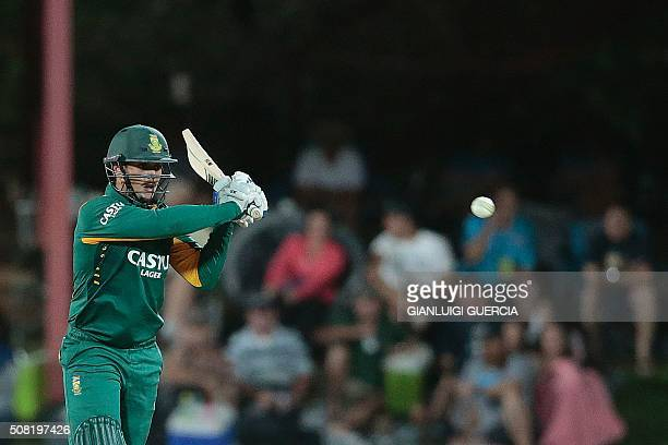 South African batsman Quinton De Kock plays a shot during the first One Day International cricket match between England and South Africa at Magaung...