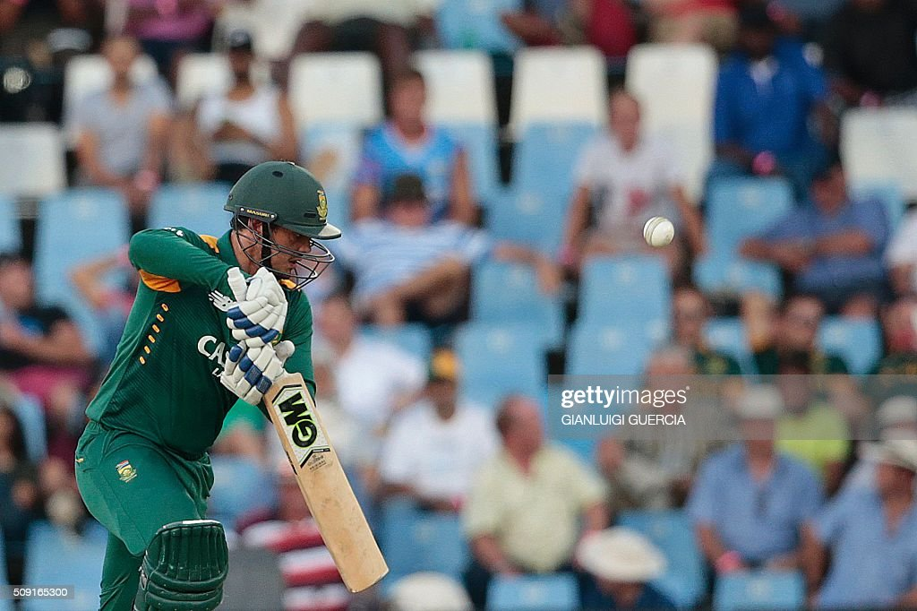 South African batsman Quinton de Kock plays a shot during the third One Day International match between England and South Africa at Supersport park on February 9, 2016 in Centurion. GUERCIA