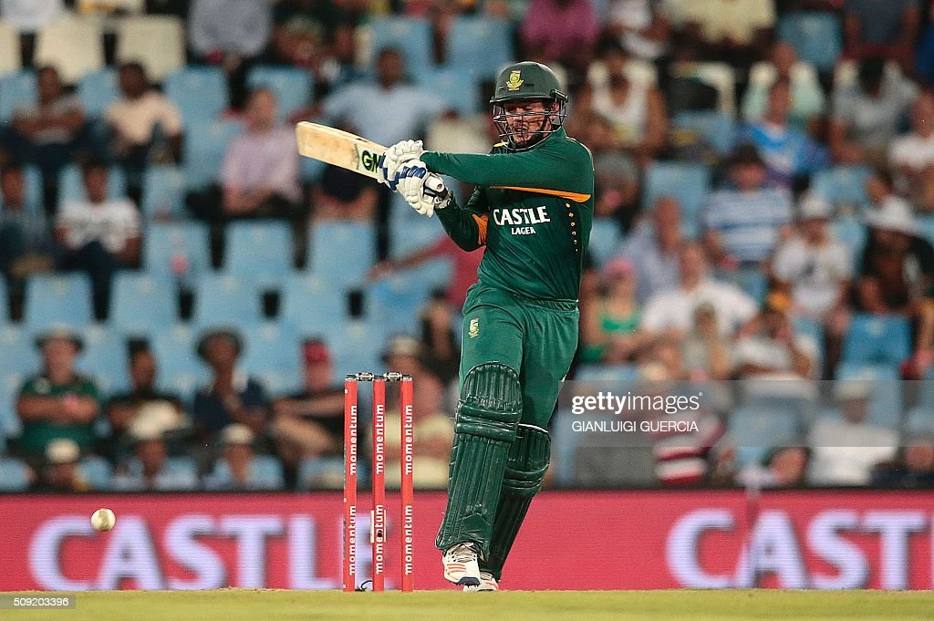 South African batsman Quinton de Kock plays a shot during the third One Day International match between England and South Africa at Supersport park on February 9, 2016 in Centurion, South Africa. GUERCIA