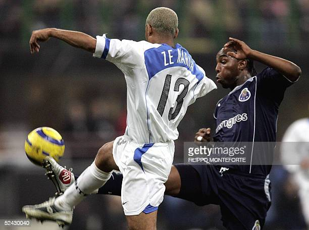South African Benni McCarthy of FC Porto duels with Brasilian Ze Maria of Inter Milan during their Champion's league 2nd leg football match 15 March...