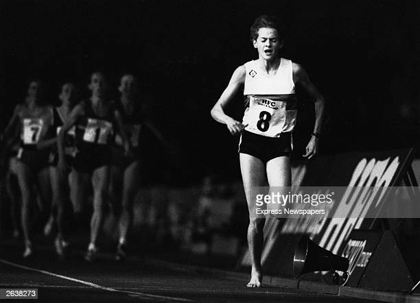 South African born athlete Zola Budd who in 1984 was accorded British citizenship in action running barefoot during a 3000 metres race Original...