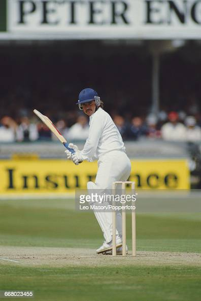 South African born cricketer Allan Lamb pictured in action batting for England during play against Australia in the Third Test at Trent Bridge in...