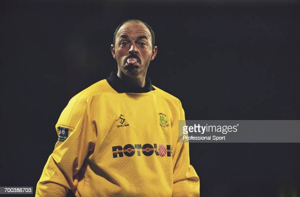 South African born footballer and goalkeeper with Plymouth Argyle Bruce Grobbelaar pictured sticking his tongue out during a game for Plymouth Argyle...