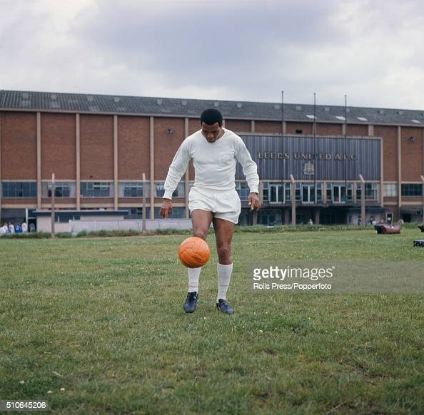 South African born footballer and left winger with Leeds United Albert Johanneson pictured during a training session outside Leeds United's Elland...