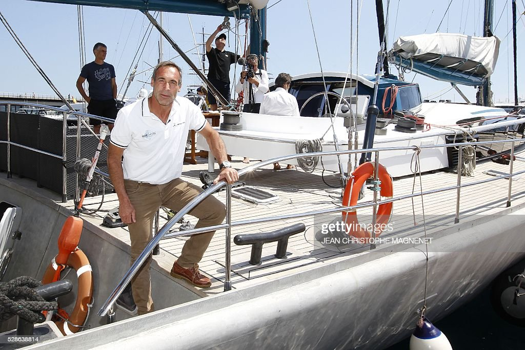 South African born, Swiss explorer and adventurer Mike Horn poses onboard his exploration yacht, 'Pangaea', on May 6, 2016, in Monaco. Mike Horn will set off from Monaco harbour on May 8, 2016, for his new expedition Pole2Pole to circumnavigate the world via the two poles. / AFP / JEAN