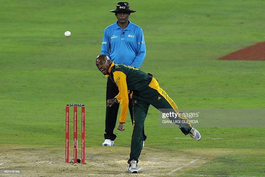 South African bowler <a gi-track='captionPersonalityLinkClicked' href=/galleries/search?phrase=Aaron+Phangiso&family=editorial&specificpeople=7184692 ng-click='$event.stopPropagation()'>Aaron Phangiso</a> bowls on West Indies batsman Dwayne Smith (not in picture) during the 5th One Day International cricket match on January 28, 2015 at Centurion Supersport park cricket ground in Centurion, South Africa. AFP PHOTO/GIANLUIGI GUERCIA =RESTRICTED TO EDITORIAL USE=