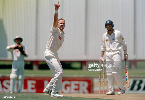 South African bowler Allan Donald appeals for the wicket of English batsman Mike Atherton during the 1st Test between England and South Africa at...