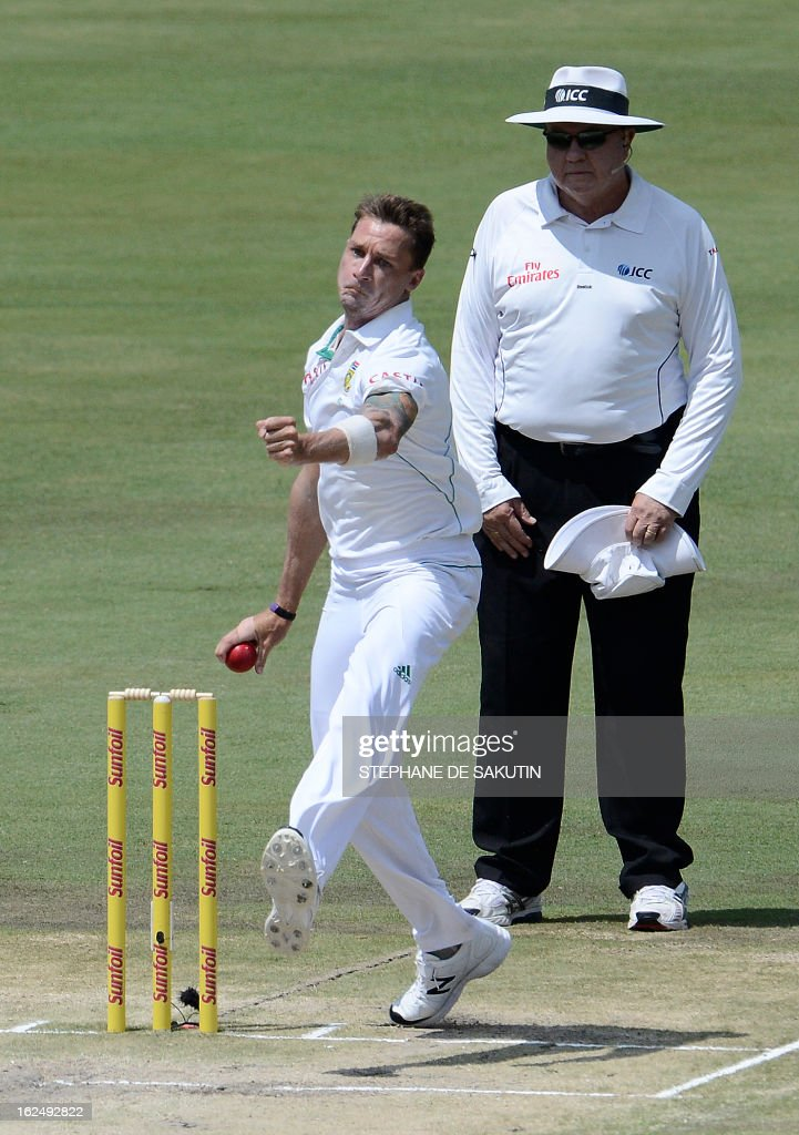 South African Bowler Dale Steyn delivers a ball to Pakistan Batsman Younis Khan during the third day of the third Test match between South Africa and Pakistan on February 24, 2013 at Super Sport Park in Centurion.