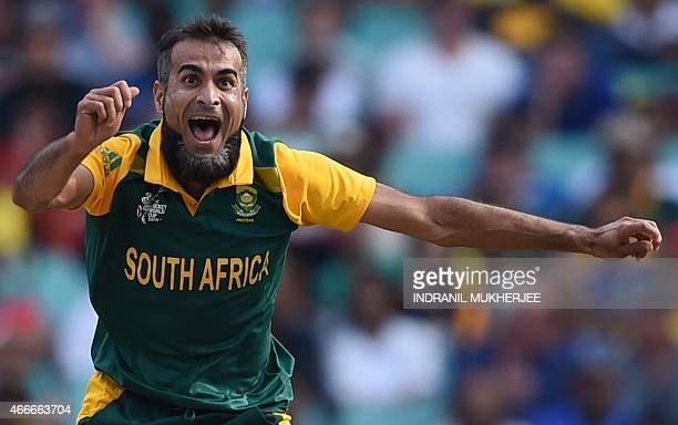 South African bowler Imran Tahir celebrates after taking the wicket of Sri Lankan cricketer Thisara Perera during the 2015 Cricket World Cup...