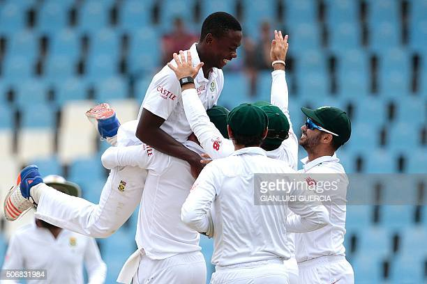 South African bowler Kagiso Rabada celebrates the dismissal England's batsman Jonny Bairstow during day 5 of the fourth Test match between England...